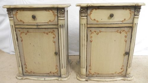 Pair Painted Bedside Cabinets